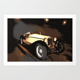 1930s Cream Vintage Car | Automobile | Old Convertible Art Print