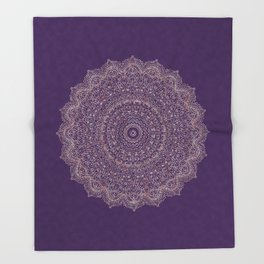 Rose Gold Marble Mandala Ultra Violet Textured Throw Blanket