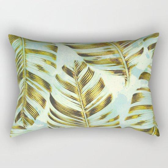 turquoise splash and golden leaves Rectangular Pillow