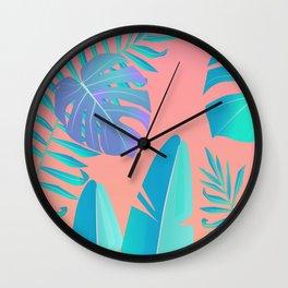 Tropics ( monstera and banana leaf pattern ) Wall Clock