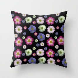 Moody Primrose Flower Heads on a Black Background Throw Pillow