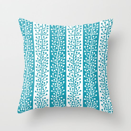 Mid Century Modern Berry Vine Stripes Turquoise by tonymagner