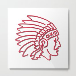 Native American Indian Chief Neon Sign Metal Print