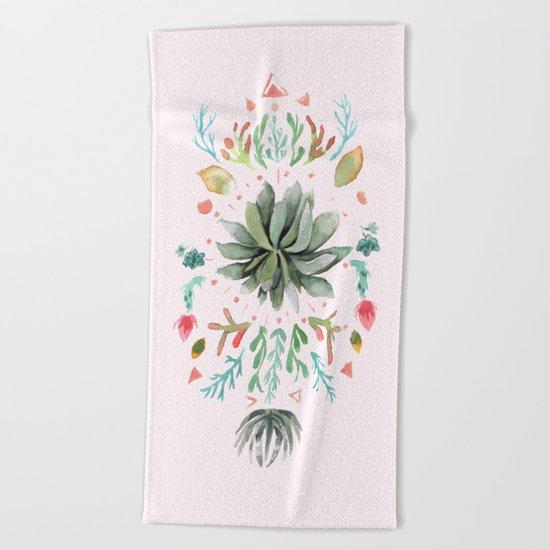 Tropical Succulents Beach Towel