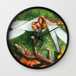 Amber Dragonfly Wall Clock