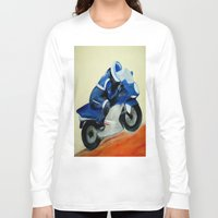 motorbike Long Sleeve T-shirts featuring Art, painting, illustration, motorbike by WhitePanther
