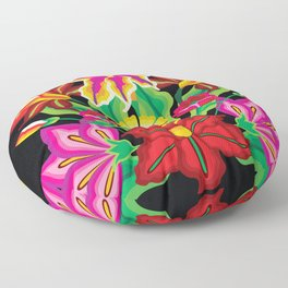 Mexican Exotic Flowers Floor Pillow