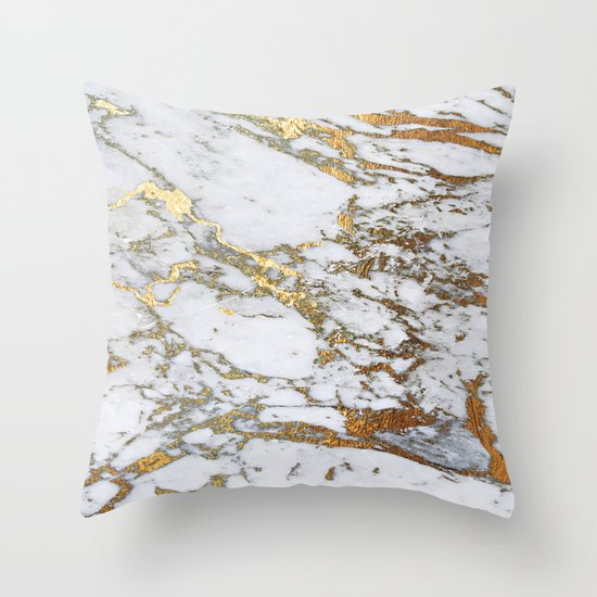 Gold Marble Throw Pillow by Jenna Davis Designs Society6
