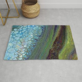 Age And Beauty - Original, abstract, fluid, marbled painting Rug