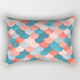 Watercolor Mermaid Scales in Peach and Teal Rectangular Pillow