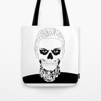 kris tate Tote Bags featuring Guy from Show by Isabel Moreno-Garcia