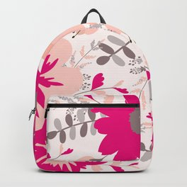 Big Flowers in Hot Pink and Accent Gray Backpack