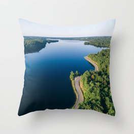 Road next to a still lake Throw Pillow