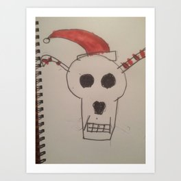 Skull Santa Merry X Christmas Art Print