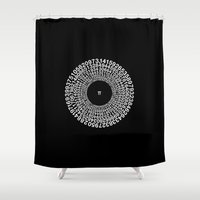 sagan Shower Curtains featuring TRANSCENDENCE OF PI by THE USUAL DESIGNERS