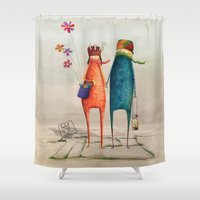 lovers Shower Curtains featuring Lovers by Basak BİILGIN