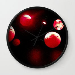 Crimson Orbs Wall Clock
