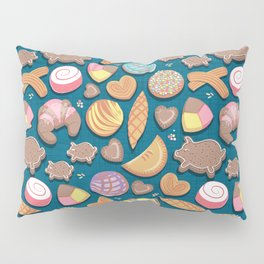 Mexican Sweet Bakery Frenzy // turquoise background // pastel colors pan dulce Pillow Sham