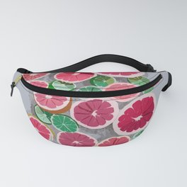 Juicy grapefruits on a gray background Fanny Pack