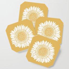 Yellow Sunflower Drawing Coaster