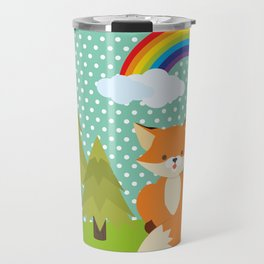 Fox, Rainbow , nursery decor , children gift, birthday gift Travel Mug