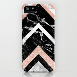 Modern rose gold glitter foil white black marble glitter triangles stripes iPhone Case