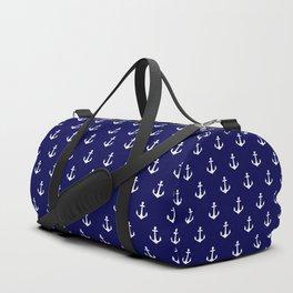 Maritime Nautical Blue and White Anchor Pattern Duffle Bag