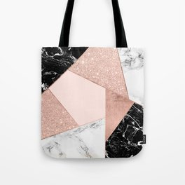 Modern rose gold glitter black white marble geometric color block Tote Bag