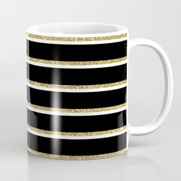 Black Gold White Stripe Pattern 2 Coffee Mug