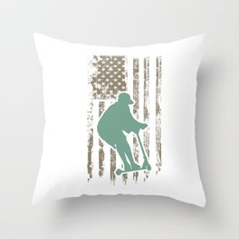 Awesome Patriotic USA Scooter Throw Pillow