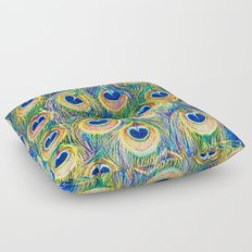 Peacock Freathers Floor Pillow