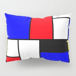 Red Blue Yellow Geometric Squares Pillow Sham