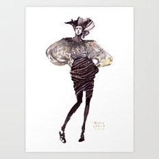 Fashion sketches in mixed technique Art Print