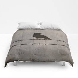 Rustic Black Bird Barbed Wire Modern Country Home Decor Art Matted Picture A476 Comforters