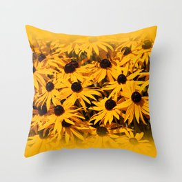A Bed of Bloomin' Rudbeckias Throw Pillow