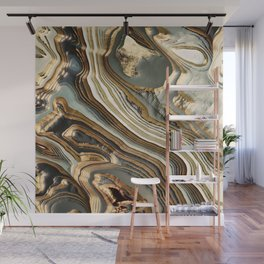 White Gold Agate Abstract Wall Mural