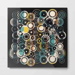 Circles Galore in Teal Metal Print
