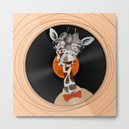 Intelligent giraffe on vinyl Metal Print