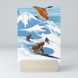 Retro Travel Heliski ski Revelstoke poster Mini Art Print