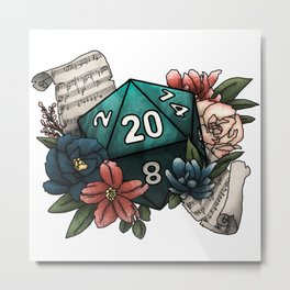 Bard Class D20 - Tabletop Gaming Dice Metal Print