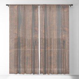 Rustic brown old wood Sheer Curtain