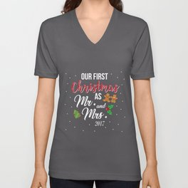 Our First Christmas As Mr and Mrs 2018 Unisex V-Neck