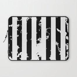 Splatter Bars - Black ink, black paint splats in a stripey stripy pattern Laptop Sleeve