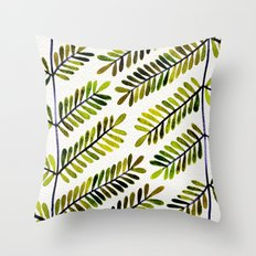 Green Leaflets Throw Pillow