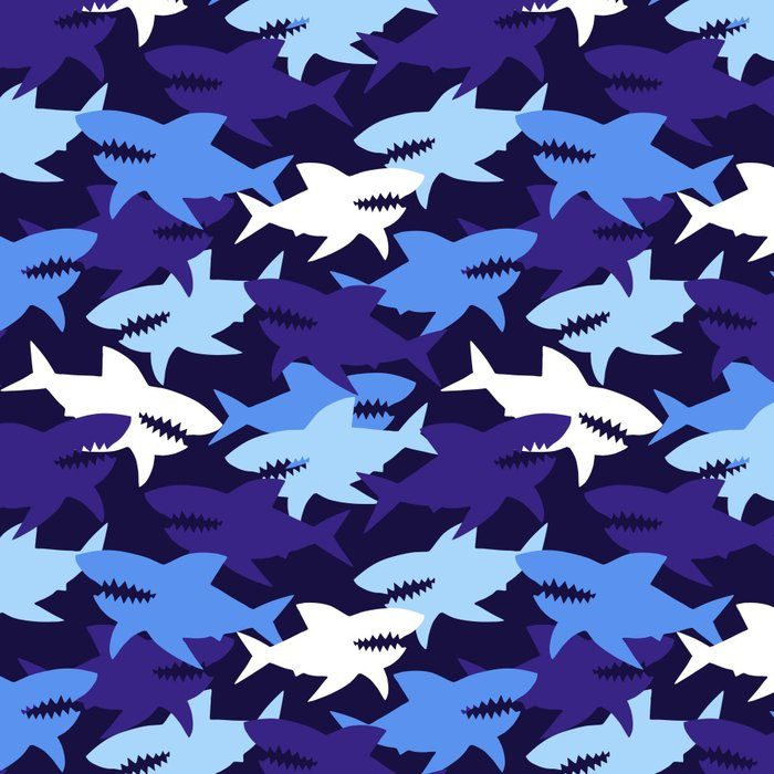 Blue Sharks Camouflage Pattern Leggings