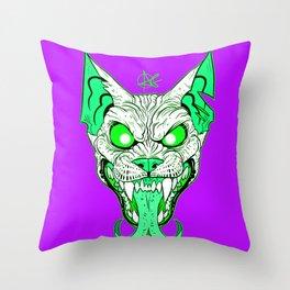 GREEN Demon Sphynx Cat Throw Pillow