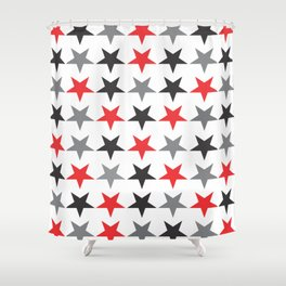 Black Grey Red Stars Shower Curtain