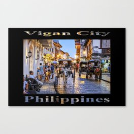 Rush Hour in Vigan City (on black) Canvas Print