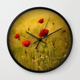 Poppy-field Poppies Flowers Flower Wall Clock