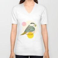 nan lawson V-neck T-shirts featuring Little Bird by Nan Lawson